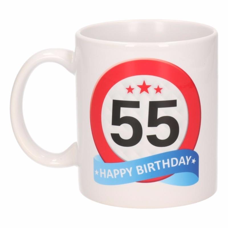 Verjaardag 55 Jaar Verkeersbord Mok Beker Voor Maar 6 95 Bij